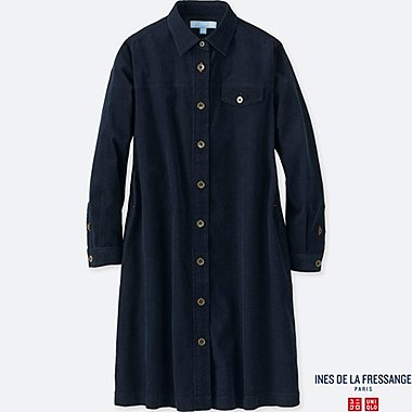 GIRLS CORDUROY LONG-SLEEVE DRESS (INES DE LA FRESSANGE), NAVY, medium