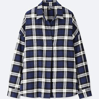 WOMEN FLANNEL CHECKED SKIPPER LONG-SLEEVE SHIRT, NAVY, medium