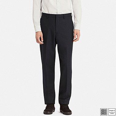 MEN U WOOL-BLEND WIDE-FIT TAPERED PANTS, NAVY, medium