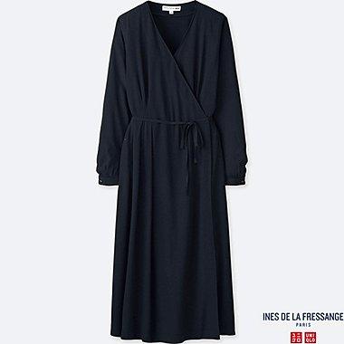 WOMEN INES GEORGETTE LONG SLEEVED WRAP DRESS