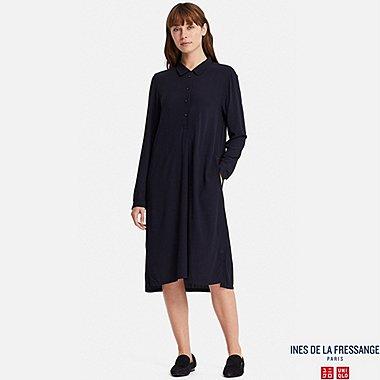 WOMEN INES GEORGETTE LONG SLEEVE SHIRT DRESS