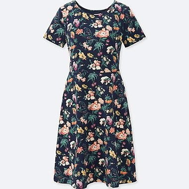 WOMEN STUDIO SANDERSON FOR UNIQLO SHORT-SLEEVE BRA DRESS (ONLINE EXCLUSIVE), NAVY, medium