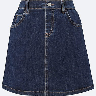 GIRLS DENIM SKIRT, NAVY, medium