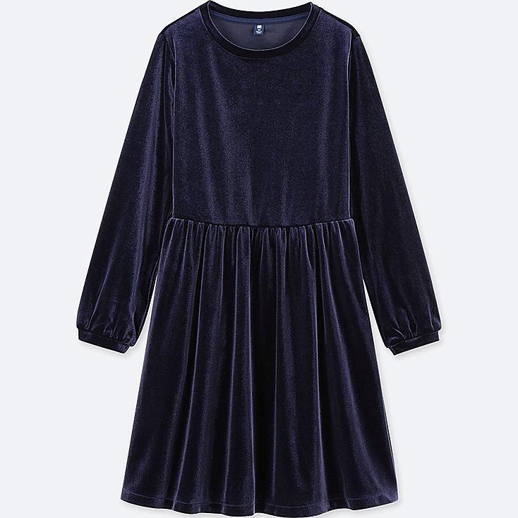 GIRLS VELOUR LONG-SLEEVE DRESS, NAVY, large