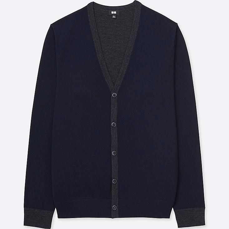 MEN EXTRA FINE MERINO V-NECK LONG-SLEEVE CARDIGAN, NAVY, large