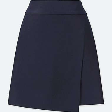 WOMEN WRAP HIGH-WAIST MINI SKIRT, NAVY, medium