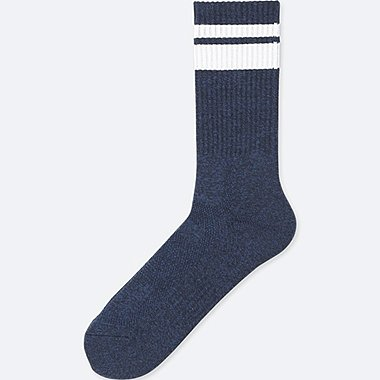 MEN HEATTECH PILE LINE SOCKS, NAVY, medium
