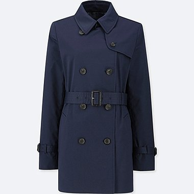 WOMEN DOUBLE BREASTED SHORT TRENCH COAT