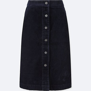 WOMEN CORDUROY HIGH-WAIST FRONT BUTTON SKIRT, NAVY, medium