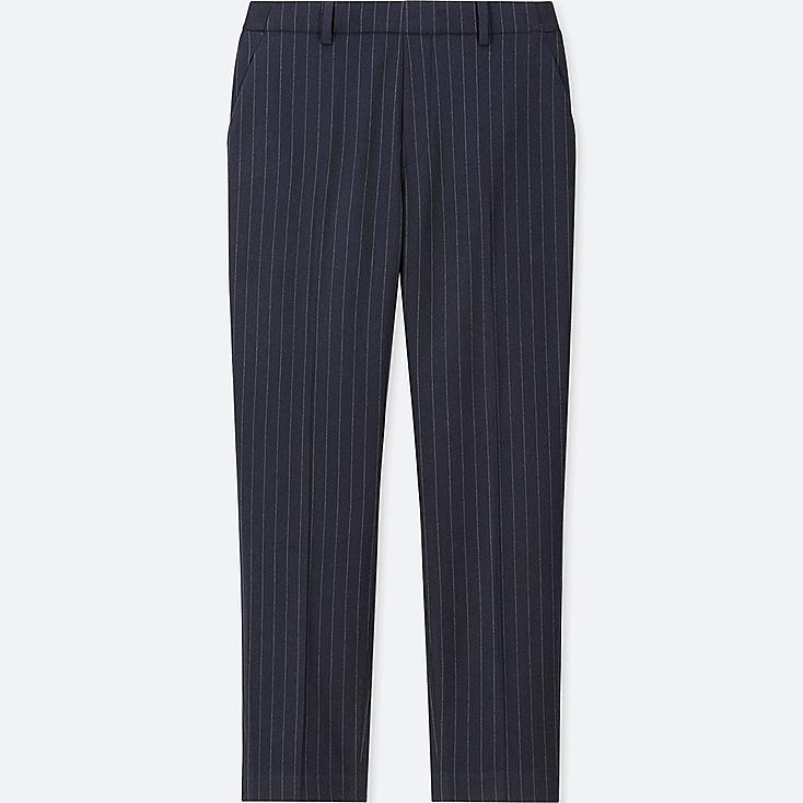 WOMEN EZY FLANNEL ANKLE-LENGTH PANTS (PIN STRIPE), NAVY, large