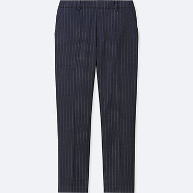 WOMEN EZY FLANNEL ANKLE-LENGTH PANTS (PIN STRIPE), NAVY, medium