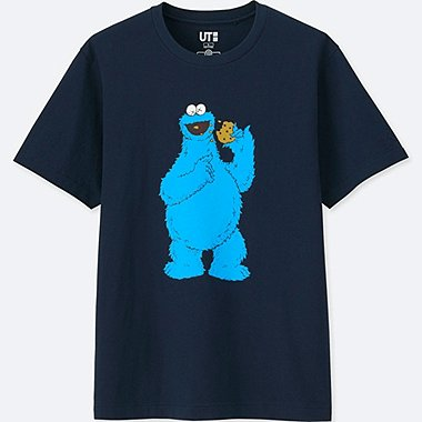 MEN KAWS X SESAME STREET GRAPHIC T-SHIRT, NAVY, medium