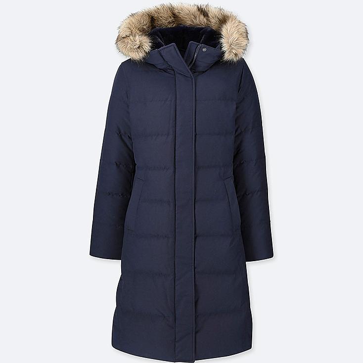 WOMEN ULTRA WARM DOWN LONG COAT (ONLINE EXCLUSIVE), NAVY, large