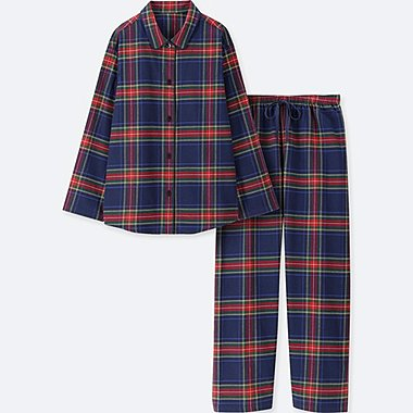 WOMEN FLANNEL CHECKED LONG SLEEVED PYJAMAS