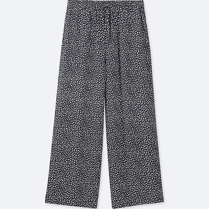 WOMEN FLORAL-PRINT DRAPE WIDE PANTS, NAVY, large