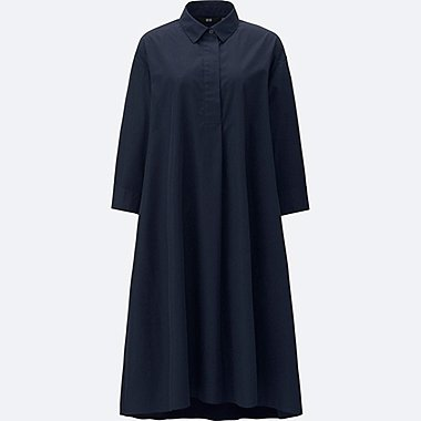 WOMEN EXTRA FINE COTTON A-LINE 3/4 SLEEVE DRESS, NAVY, medium