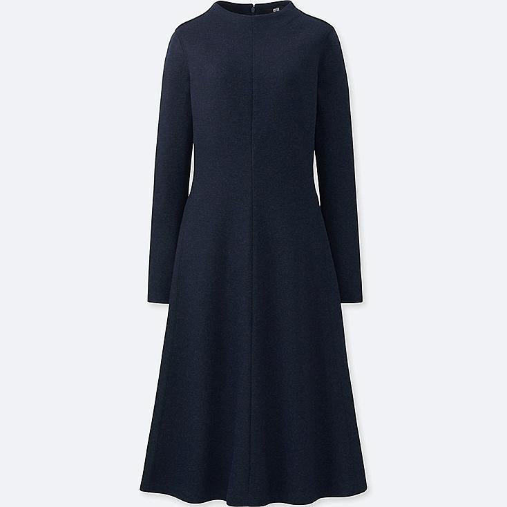WOMEN WOOL-BLEND LONG-SLEEVE DRESS, NAVY, large