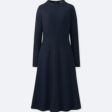 WOMEN WOOL-BLEND LONG-SLEEVE DRESS, NAVY, medium
