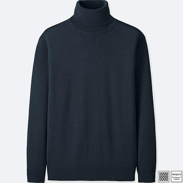 MEN U EXTRA FINE MERINO TURTLENECK LONG-SLEEVE SWEATER, NAVY, large
