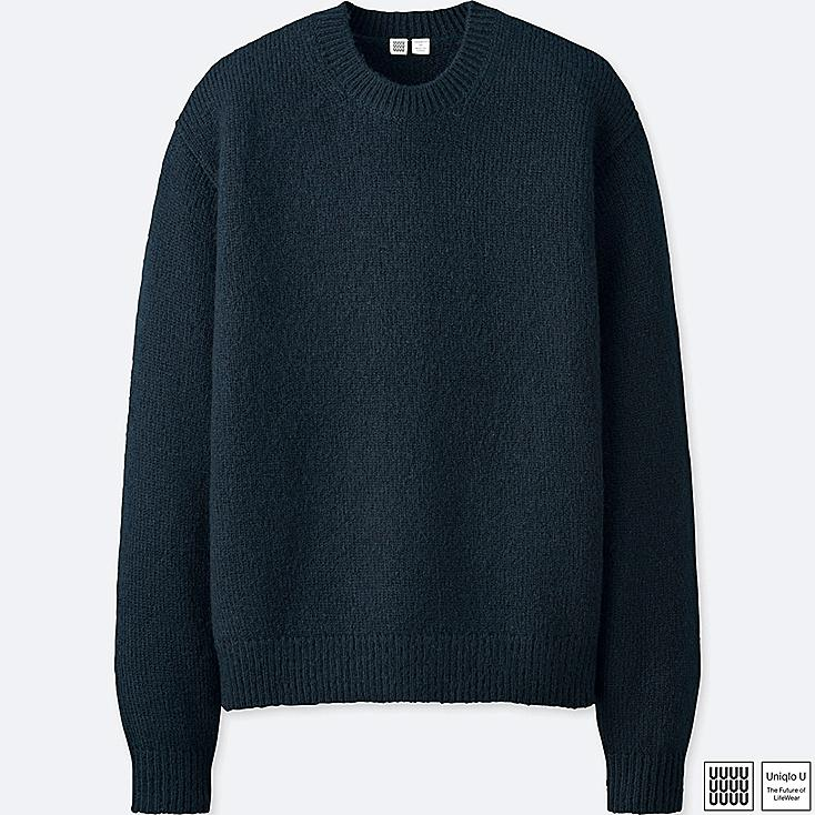 MEN U MELANGE CREW NECK LONG-SLEEVE SWEATER, NAVY, large
