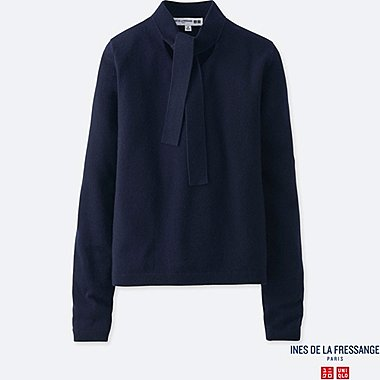 WOMEN CASHMERE RIBBON-TIE SWEATER (INES DE LA FRESSANGE), NAVY, medium