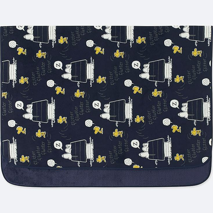 PEANUTS FLEECE LARGE BLANKET, NAVY, large