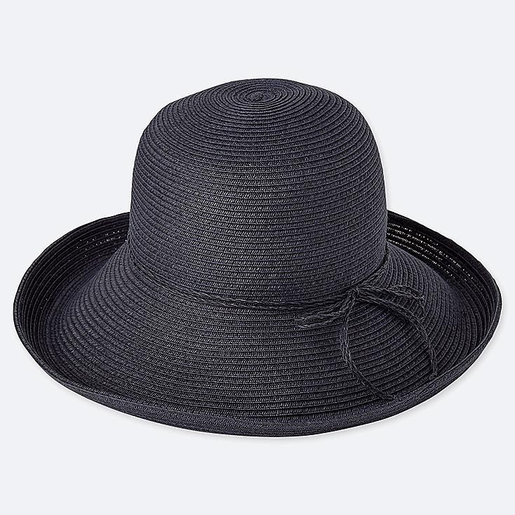 WOMEN ADJUSTABLE CAPELINE HAT, NAVY, large