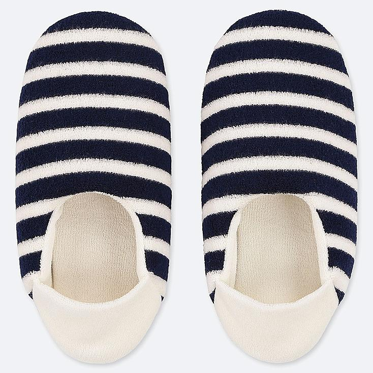 WOMEN PILE SLIPPERS, NAVY, large