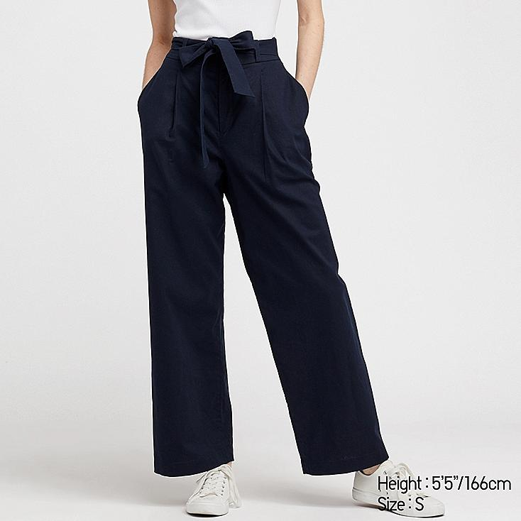 WOMEN BELTED LINEN COTTON WIDE STRAIGHT PANTS, NAVY, large