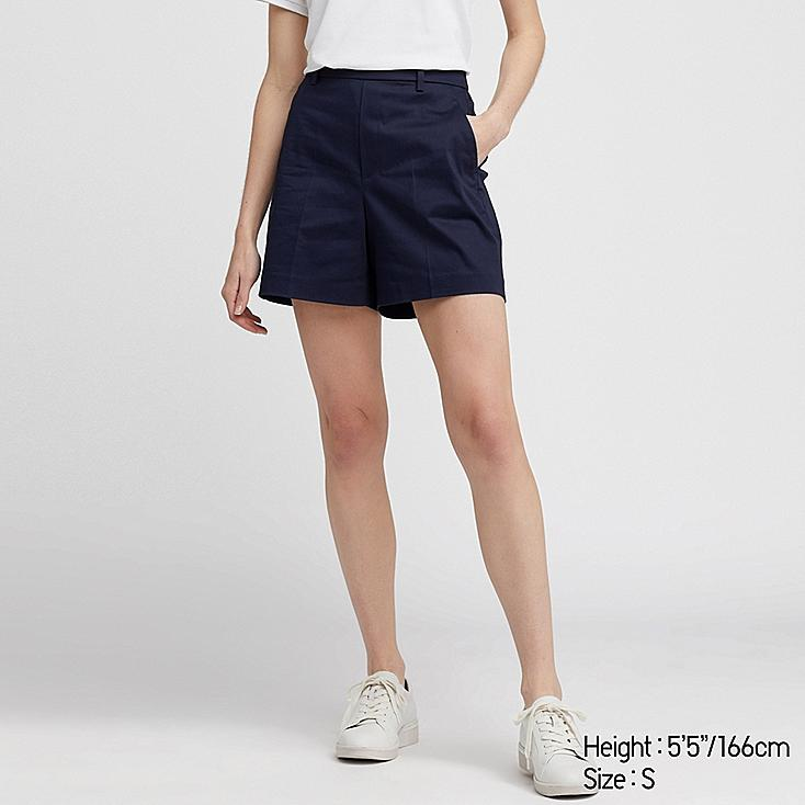 WOMEN SATIN SHORTS (ONLINE EXCLUSIVE), NAVY, large