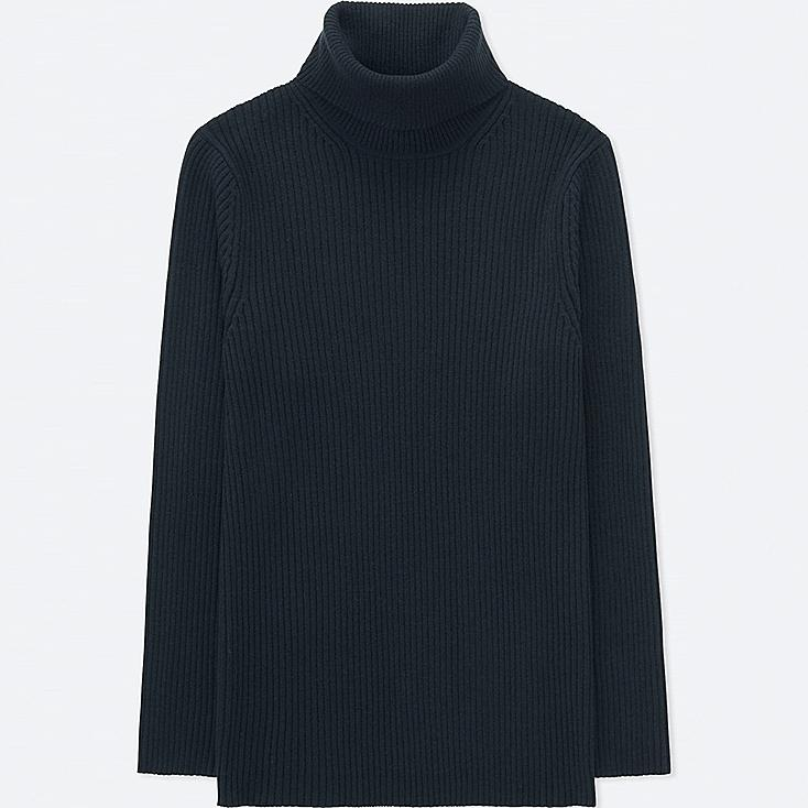 MEN RIBBED TURTLENECK LONG-SLEEVE SWEATER (ONLINE EXCLUSIVE), NAVY, large