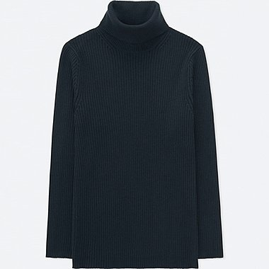 MEN RIBBED TURTLENECK LONG-SLEEVE SWEATER (ONLINE EXCLUSIVE), NAVY, medium