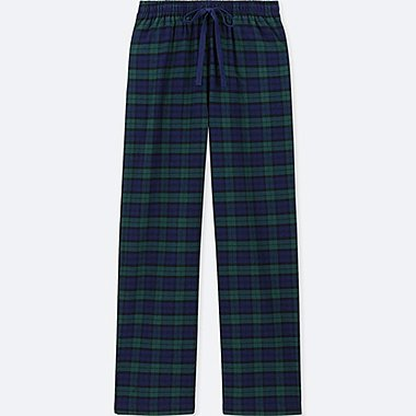 WOMEN PLAID FLANNEL PANTS, NAVY, medium