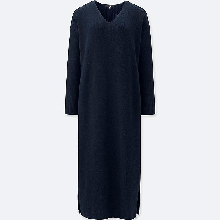 WOMEN RIBBED V-NECK LONG-SLEEVE KNIT DRESS, NAVY, large