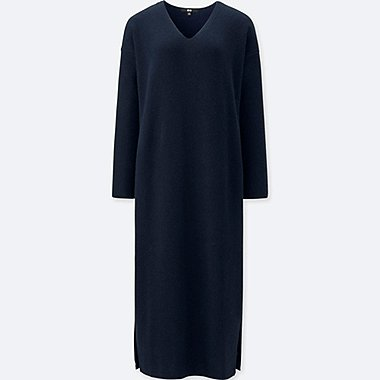 WOMEN RIBBED V-NECK LONG-SLEEVE KNIT DRESS, NAVY, medium