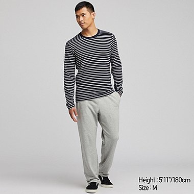 MEN ULTRA STRETCH STRIPED LONG SLEEVED LOUNGE SET