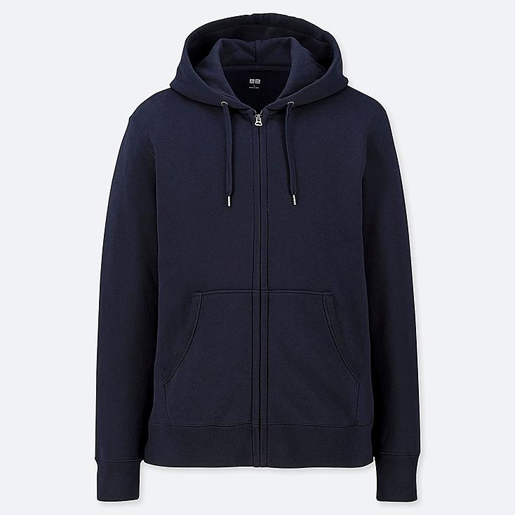 MEN LONG-SLEEVE FULL-ZIP HOODED SWEATSHIRT, NAVY, large