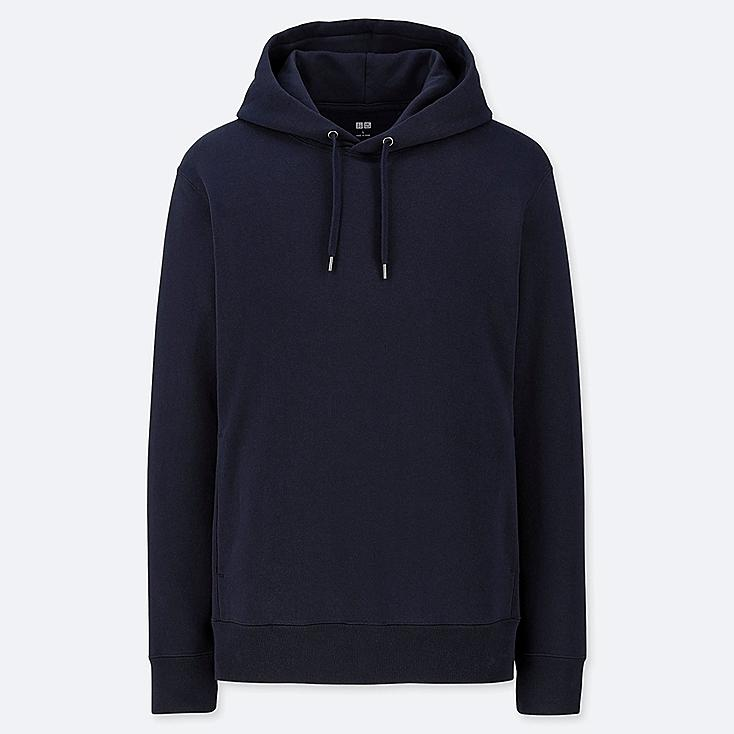 MEN LONG-SLEEVE HOODED SWEATSHIRT, NAVY, large
