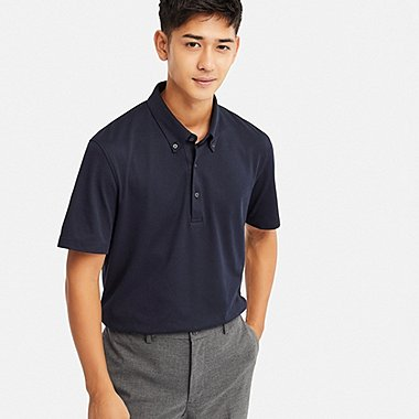 MEN AIRism SHORT-SLEEVE POLO SHIRT, NAVY, medium