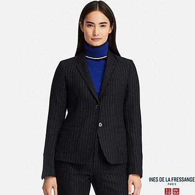 WOMEN SOFT TWEED STRIPED JACKET (INES DE LA FRESSANGE), NAVY, medium
