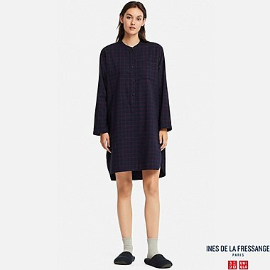 WOMEN FLANNEL LONG-SLEEVE PAJAMAS (INES DE LA FRESSANGE), NAVY, medium