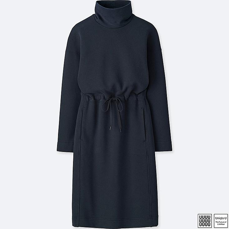 WOMEN U SWEAT TURTLENECK LONG-SLEEVE DRESS, NAVY, large