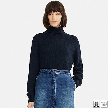 WOMEN U MELANGE TURTLENECK SWEATER, NAVY, medium