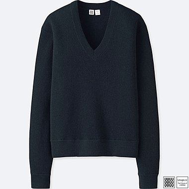 WOMEN U WOOL V-NECK SWEATER, NAVY, medium