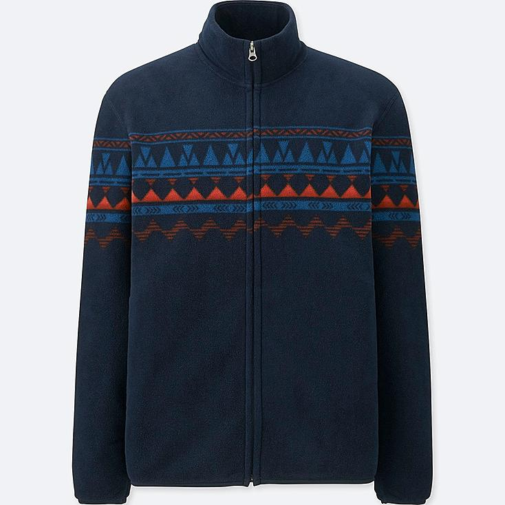 MEN PRINTED FLEECE LONG-SLEEVE FULL-ZIP JACKET, NAVY, large