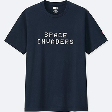 THE GAME BY TAITO SHORT-SLEEVE GRAPHIC T-SHIRT (SPACE INVADERS), NAVY, medium