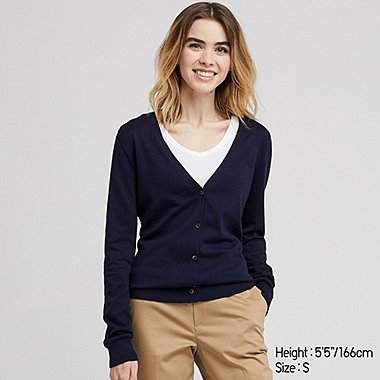 WOMEN SUPIMA COTTON UV CUT V NECK CARDIGAN
