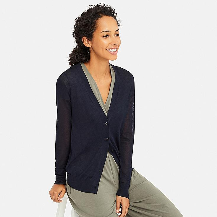 WOMEN LIGHT V-NECK CARDIGAN, NAVY, large