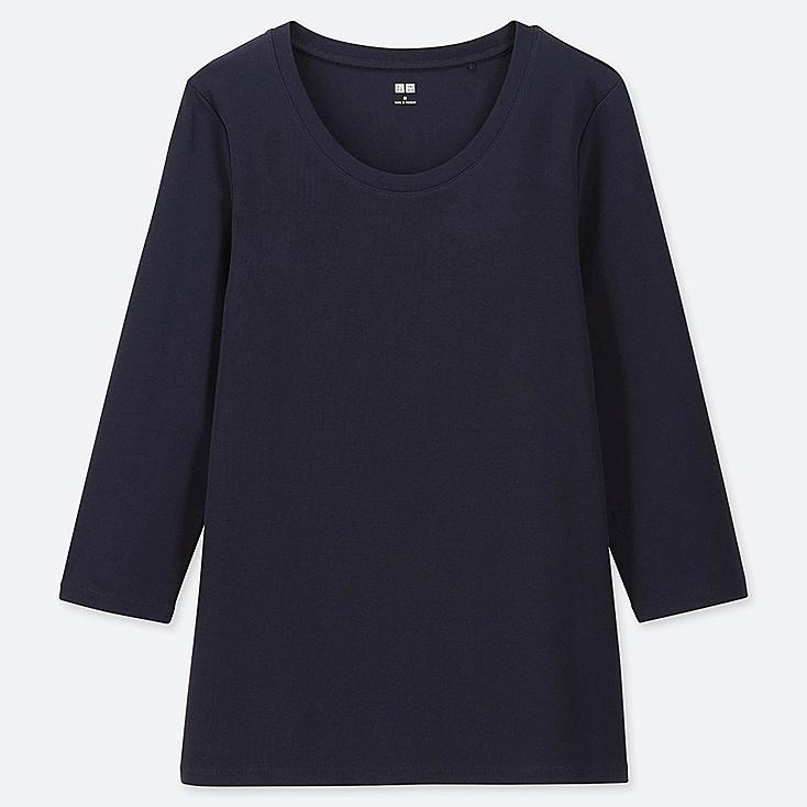 WOMEN 1*1 RIBBED COTTON CREW NECK 3/4 SLEEVE T-SHIRT, NAVY, large