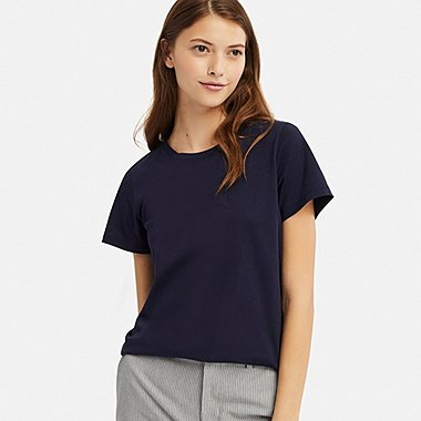 WOMEN SUPIMA® COTTON CREW NECK SHORT-SLEEVE T-SHIRT, NAVY, medium